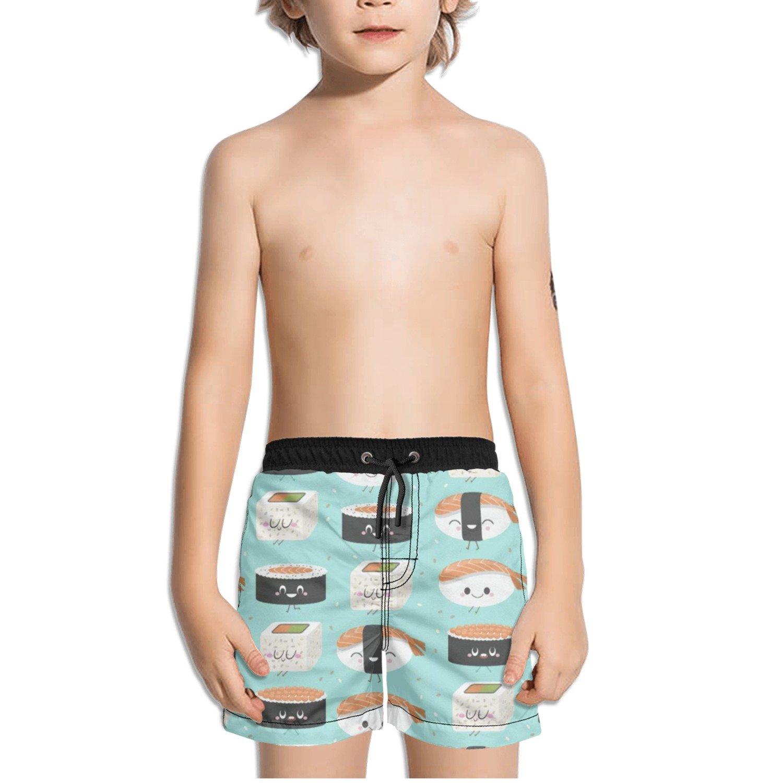 Ouxioaz Boys Swim Trunk Cute Funny Smile Sushi Beach Board Shorts