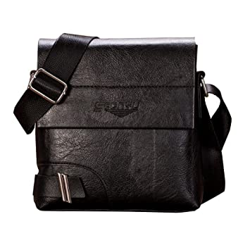 79a6412558 Lonshell Mens Leather Shoulder Bag Travel Sling Bag Waterproof Chest Crossbody  Bag Business Handbag Designer Tote