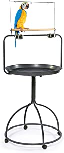 Prevue Hendryx 3183 Parrot Playstand, Round,Black,30'L x 28'W x 66 1/2'H with a 28' diameter pan