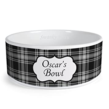 Cat Supplies Black Paw Dog Bowl With White Bowl And Black Dots Pet Supplies