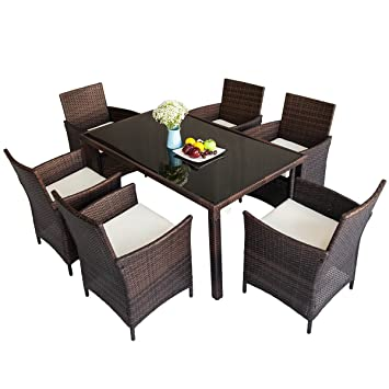 Great Merax 7 Piece Outdoor Wicker Dining Set   Dining Table Set For 6   Patio