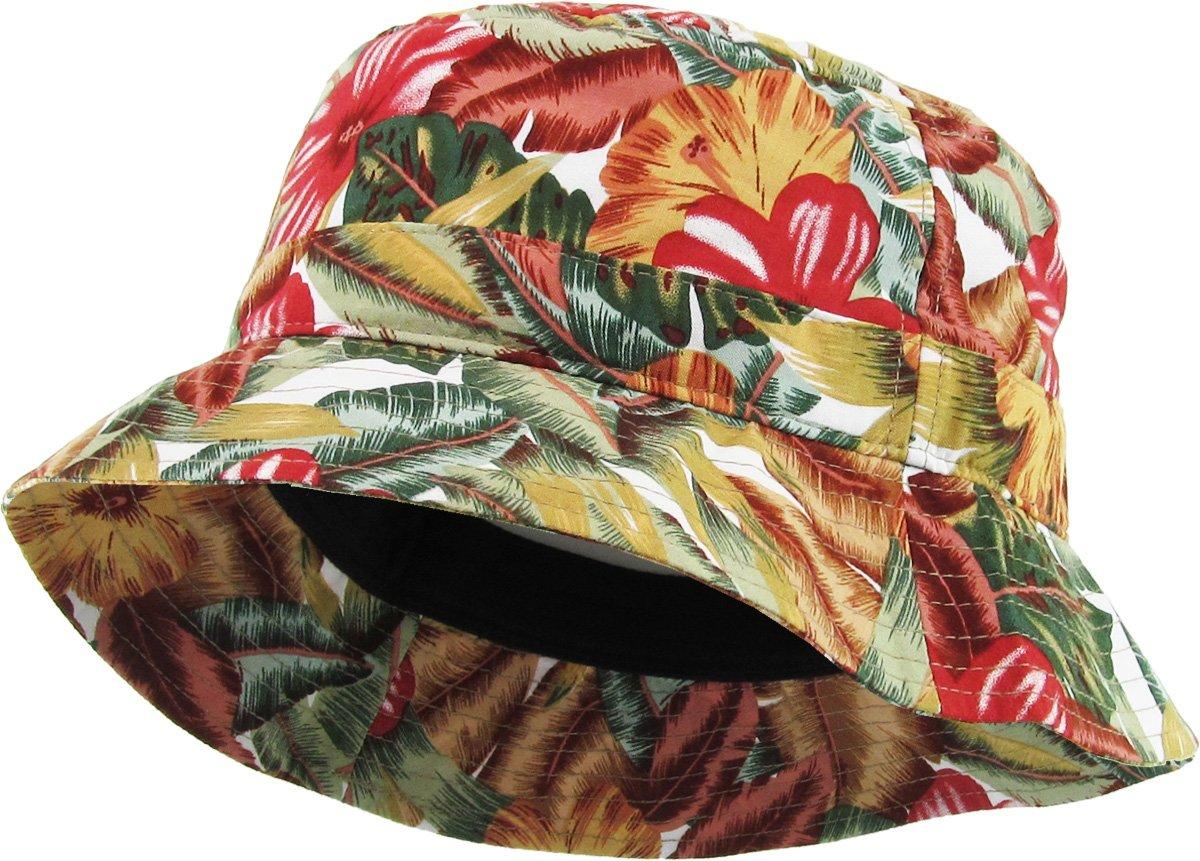The ''Original Mary-J'' Print Bucket Hats by KBETHOS,(1-1)Floral - Khaki,One Size (Medium to Large)