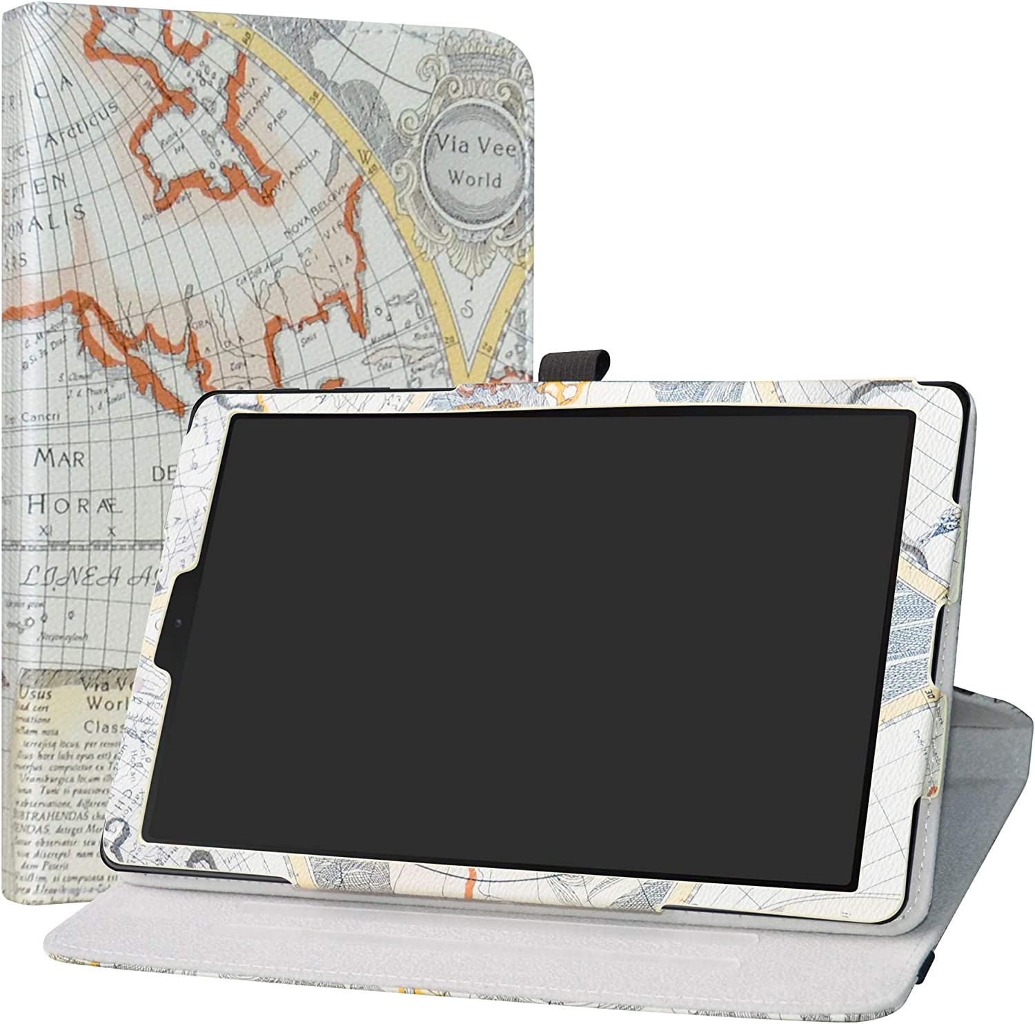 """Galaxy Tab A 10.1 T510 Rotating Case,LiuShan 360 Degree Rotation Stand PU Leather with Cute Pattern for 10.1"""" Samsung Galaxy Tab A 10.1 T510 T515 2019 Tablet PC,Map White"""