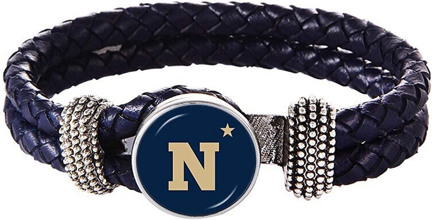 Swamp Fox Naval Academy Navy Midshipmen Double Leather Band Bracelet with Charm 7 to 9