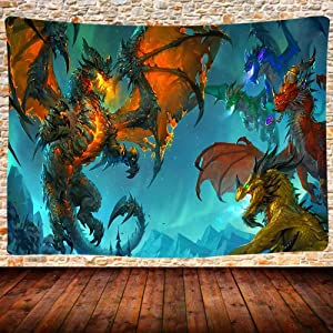 UHOMETAP Dragons Tapestry Wall Hanging, Fantasy Animals Medieval Style Tapestry, Home Decor Wall Hanging Bed Cover Bedroom Living Room 80X60 Inches GTQQUH445