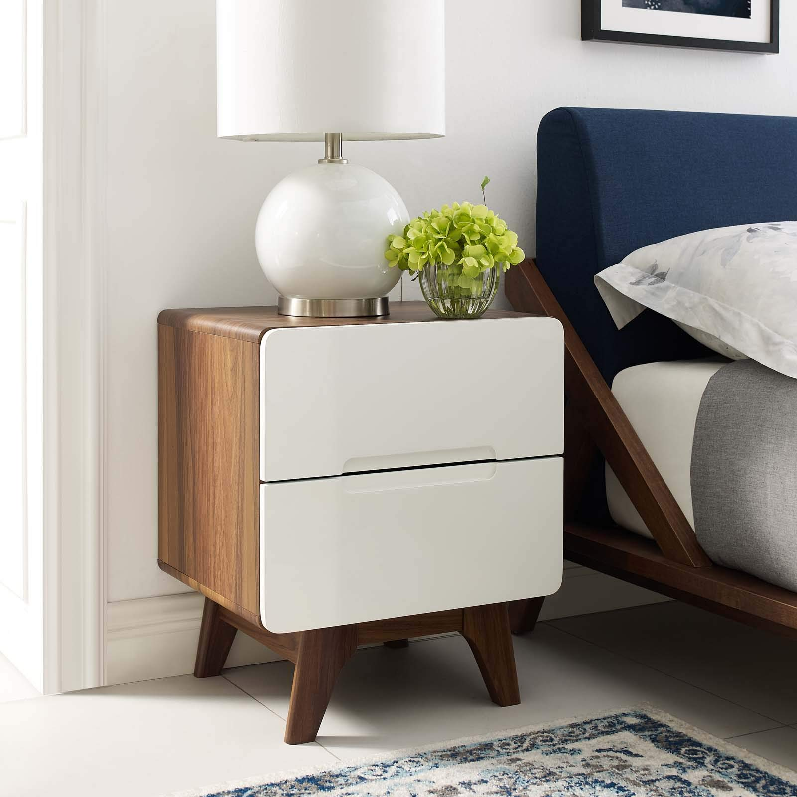 Modway Origin Contemporary Mid-Century Modern 2-Drawer Bedroom Nightstand in Walnut White by Modway