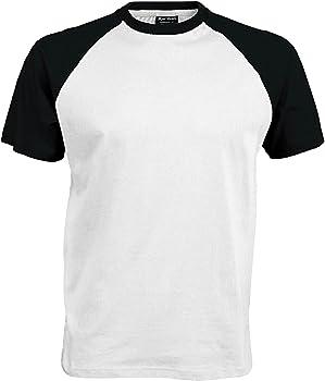 Kariban – Camiseta de manga corta para hombre Bianco/Blu navy Small: Amazon.es: Ropa y accesorios