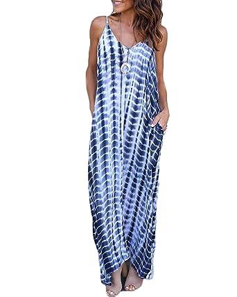 7d773dea08 FLORHO Women's Summer Tie Dye Sling Dress Casual Sleeveless Maxi Dresses  Spaghetti Sundress for Beach Party