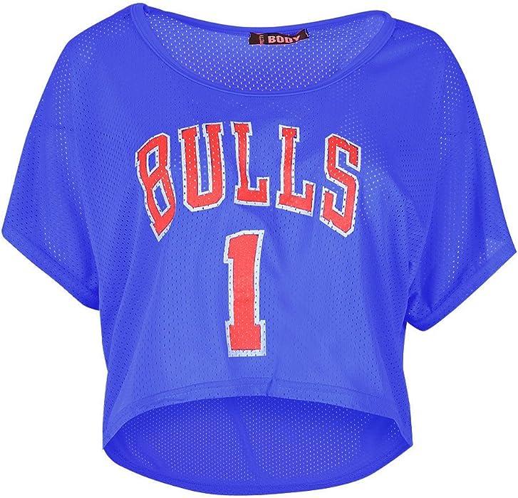 907609f69cf654 Womens Ladies Bulls 1 Hi Lo Baggy Dip Hem Short Sleeve Airtex Crop Top T  Shirt Royal Blue at Amazon Women's Clothing store: