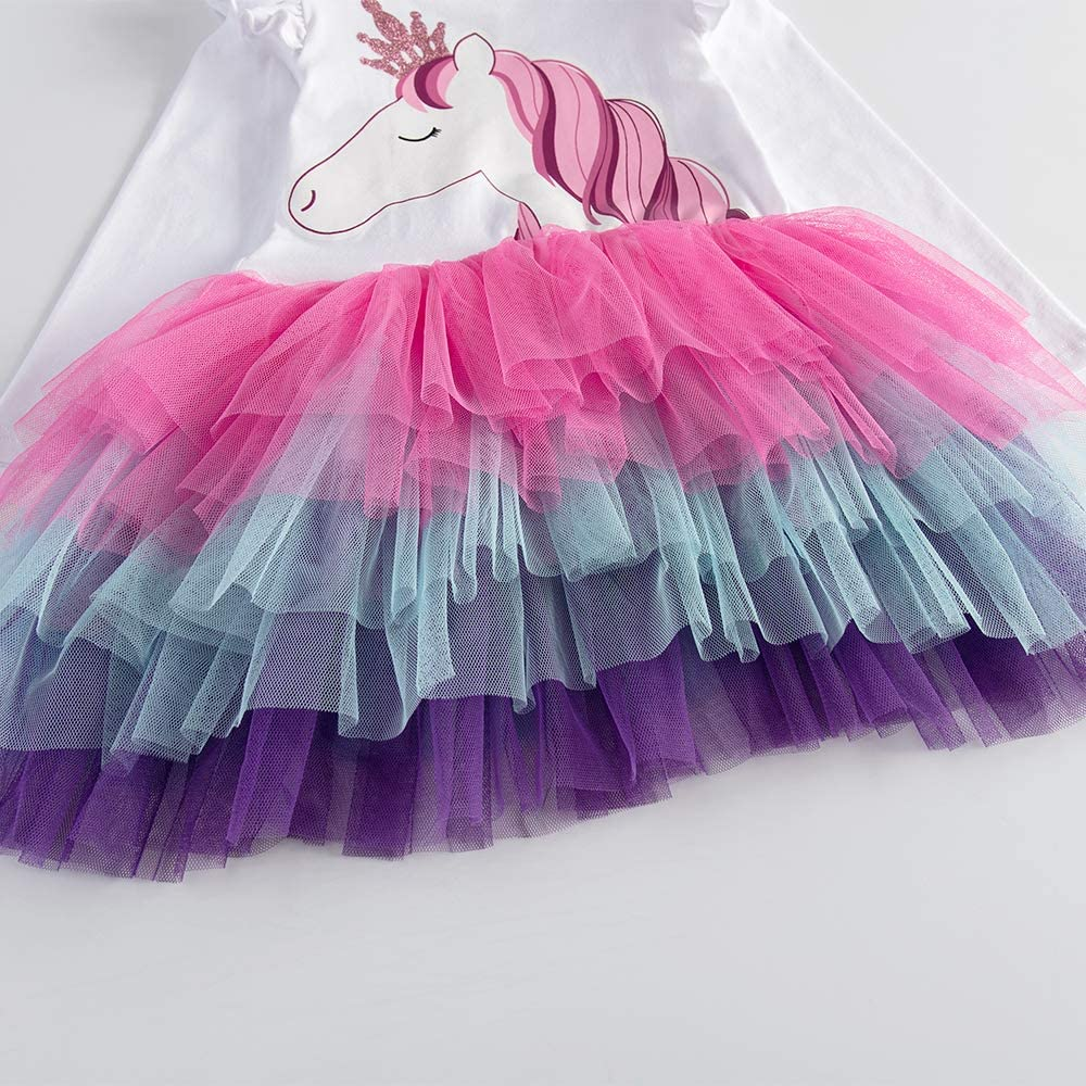 DXTON Toddler Girls Princess Rainbow Tulle Tutu Long Sleeve Party Casual Dresses