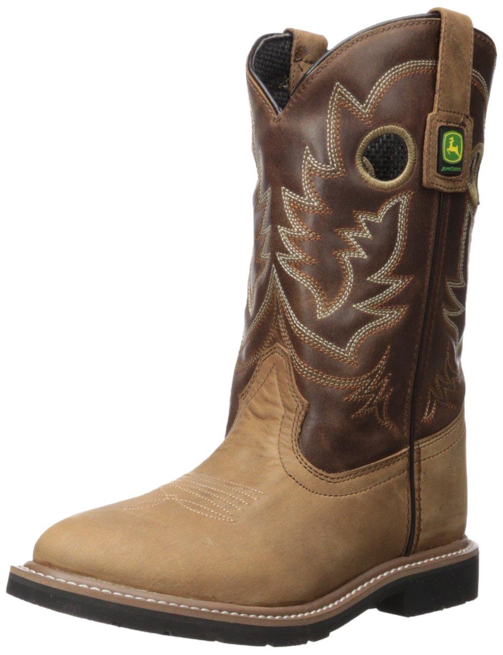 John Deere Unisex-Kids JD3502 Western Boot, Brown, 4 Medium US Big Kid