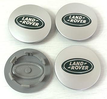 4 x Land Rover 63 mm Buje tapas Buje Tapa Tapacubos Llanta Tapa Plata/verde logo: Amazon.es: Coche y moto