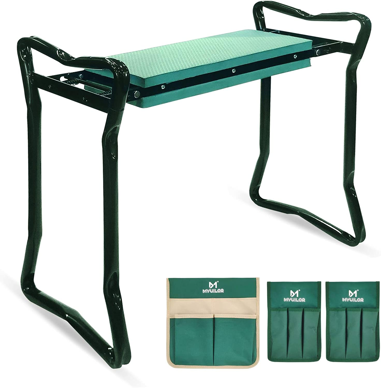 Myuilor Garden Kneeler and Seat Folding Garden Kneeler with 3 Tool Pouches 2-in-1 Foldable Garden Bench Garden Stools with Upgraded Thicken Kneeling Pad Portable Garden Kneeling Pad