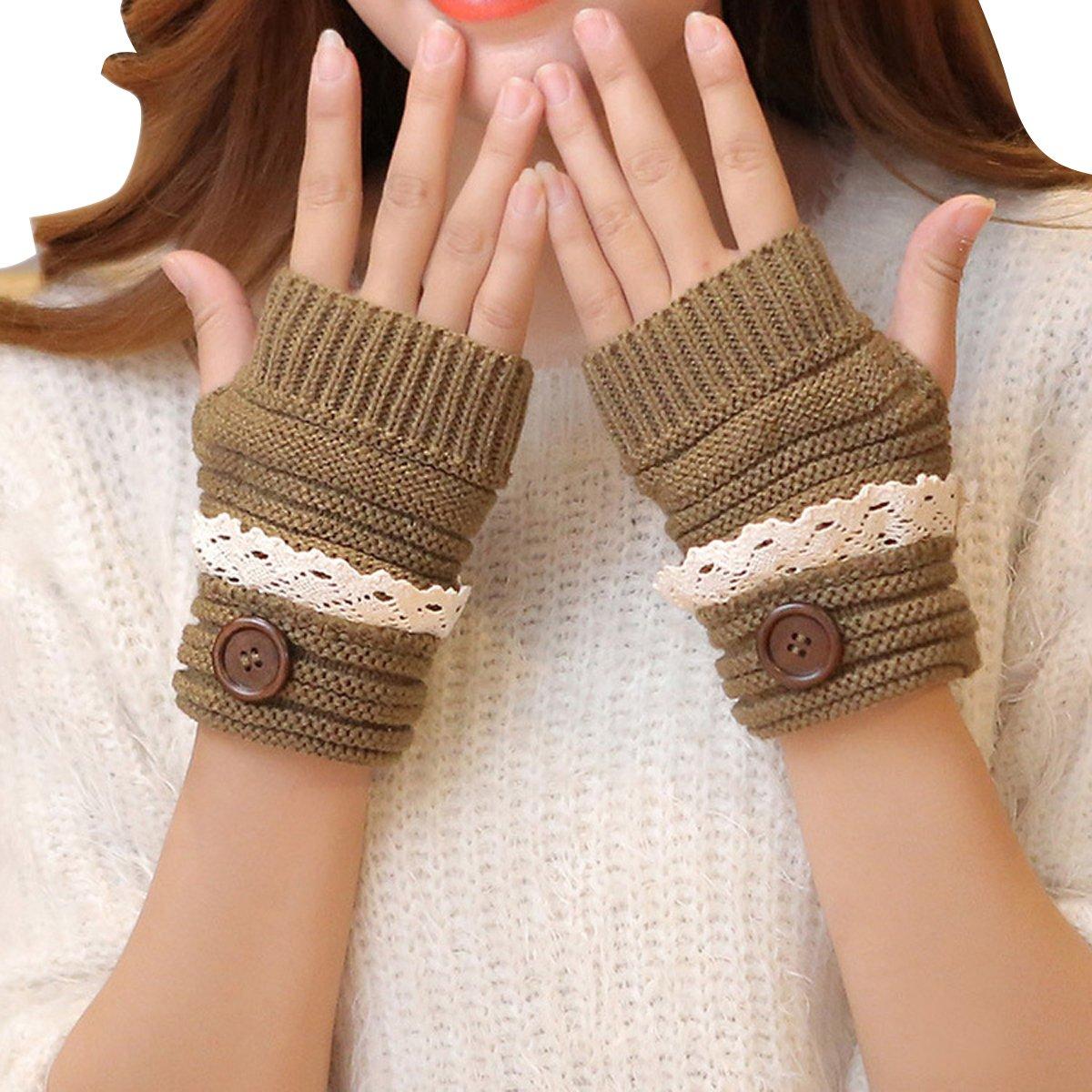 Stofirst Damen Frauen Mode Herbst Winter Fingerlos Thumbhole Häkeln Gestrickt Lace Button Handschuhe Fäustlinge Handwärmer