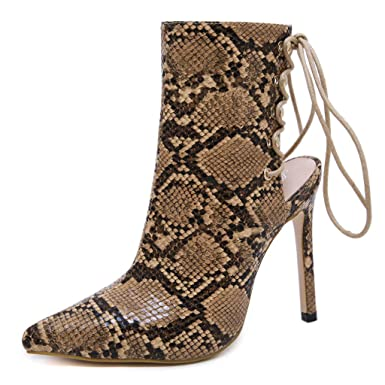 44ef986ac16fd Amazon.com: Cenglings Women Sexy Pointed Toe Snakeskin Print Shoes ...