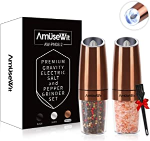 Gravity Electric Salt and Pepper Grinder Set【2019 Newest】- Battery Operated Automatic Salt and Pepper Mills with White Light,Adjustable Coarseness,One Handed Operation,Utility Brush,Copper by AmuseWit