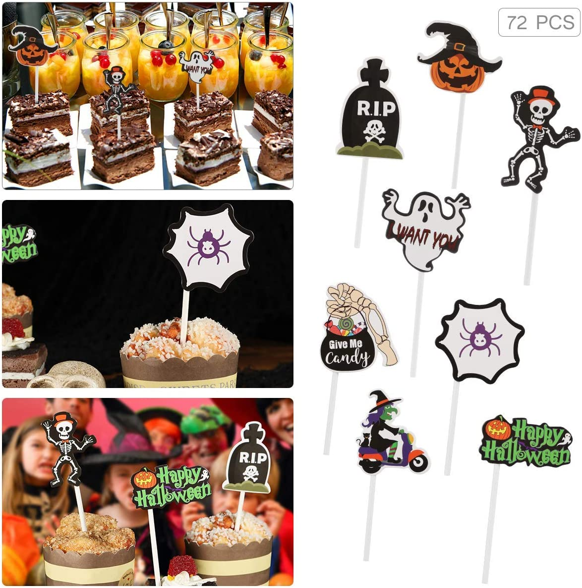 Amazon Com Amosfun Halloween Cupcake Toppers 72pcs Halloween Cake