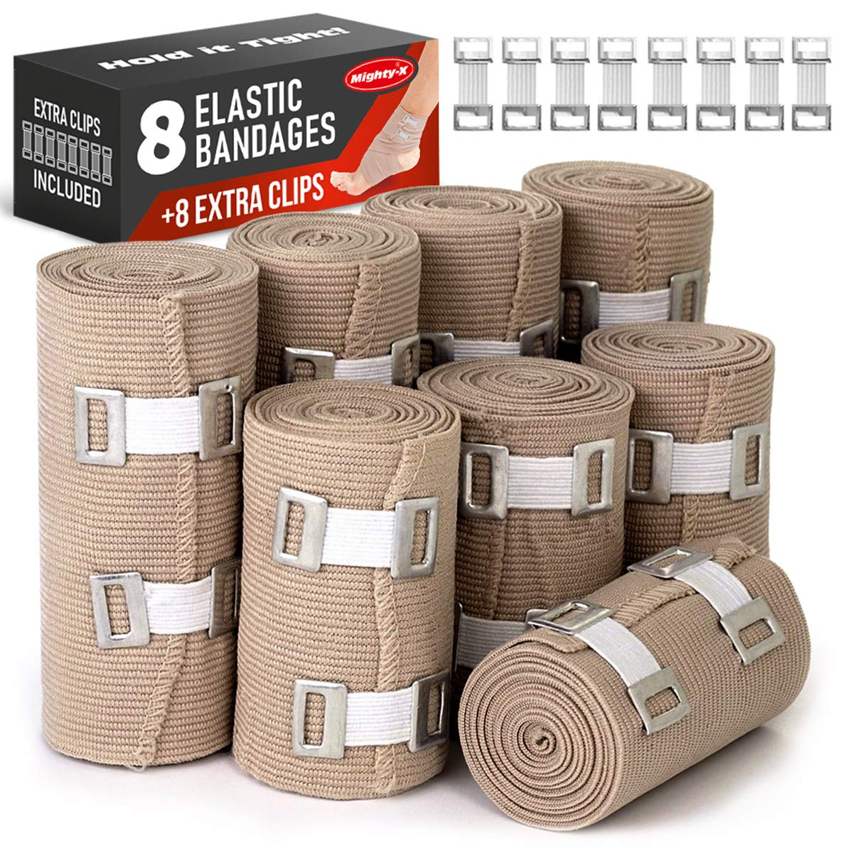 Premium Elastic Bandage Wrap - 8 Pack + 8 Extra Clips - Durable Compression Bandage (4X - 3 inch, 4X - 4 inch Rolls) Stretches up to 15ft in Length by Mighty-X