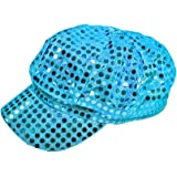 Turquoise Sparkly Sequin Newsboy Cap Diva Hat Disco Rave Girls Costume