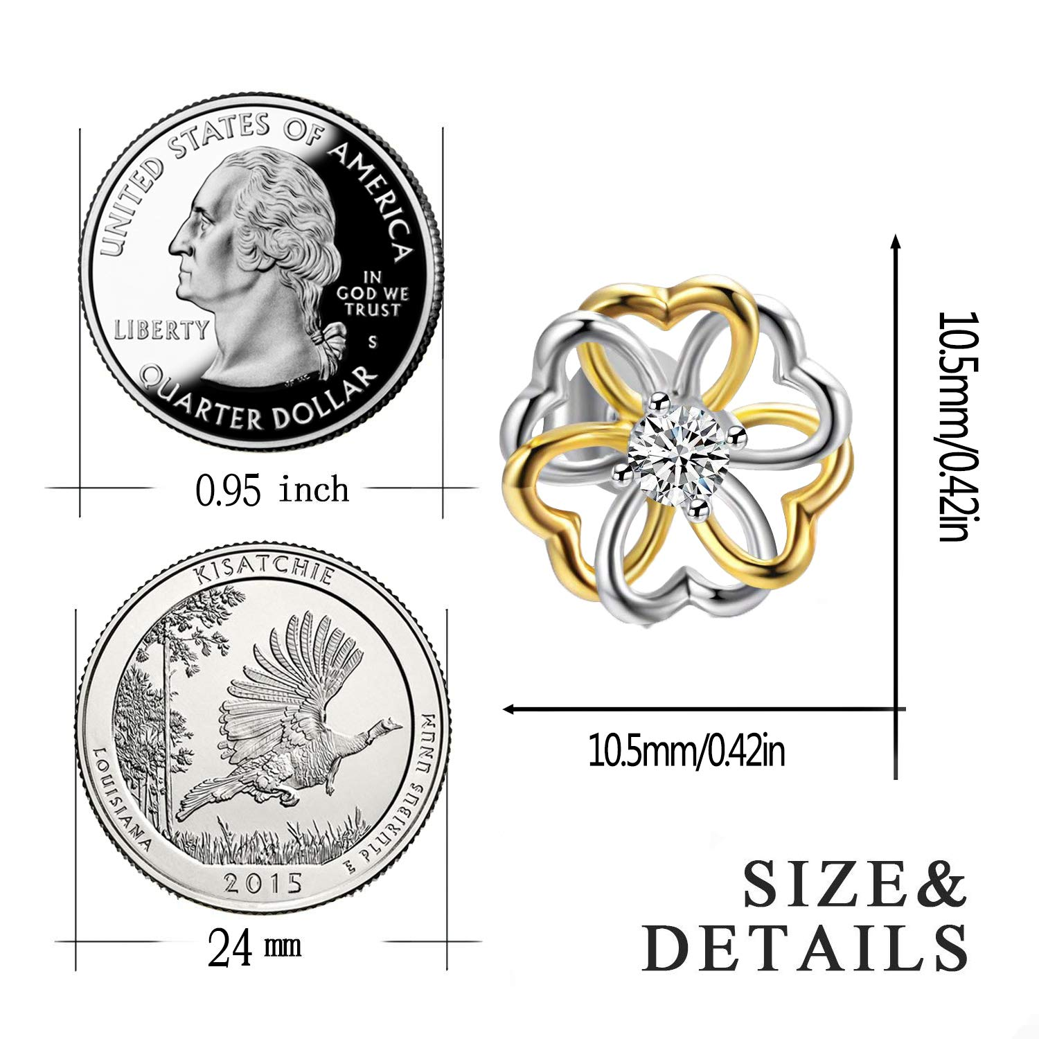 IminiJewelry Love Heart Sterling Silver Gold Flower Cubic Zirconia Stud Earrings for Women Girls Hypoallergenic Fashion CZ Post Gifts for Christmas