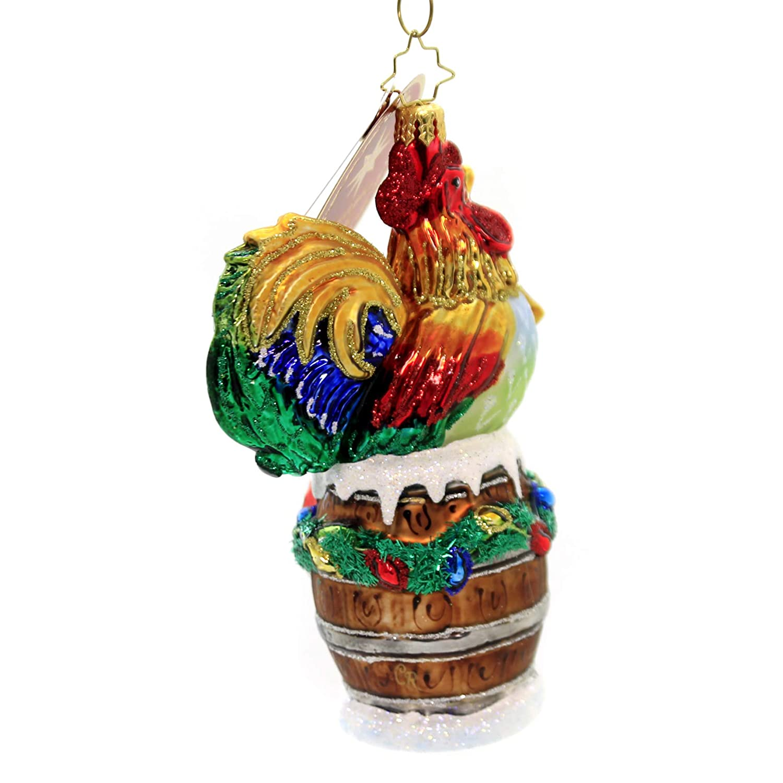 Multicolor Christopher Radko Raise The Alarm Rooster Christmas Ornament