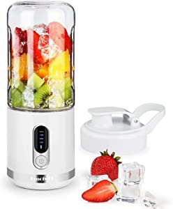 Portable Blender USB Type C Rechargeable 450ml ,DmofwHi Personal Blender for Shakes and Smoothies ,Wireless Mini Smoothie Blender On the go for Travel,Sport,Gym,Outdoors-White