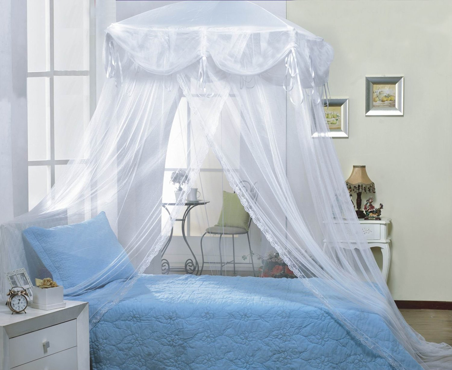 Amazon.com White four Corner Square Princess Bed Canopy By Sid Kitchen u0026 Dining : twin princess canopy bed - memphite.com