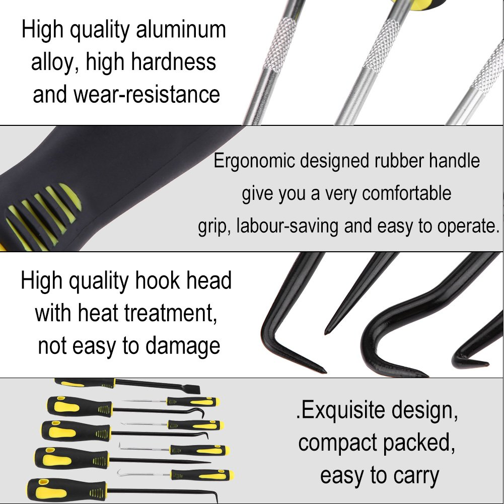 Hook Pick Set, 9Pcs Precision Scraper Hook and Pick Set O-Ring and Seal Remover Puller Craft Hobby Tool for Automotive and Electronic, including 4 short picks 4 long picks and 1 gasket scraper by Zerone (Image #7)