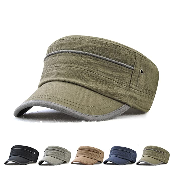 7376d02cb3a Image Unavailable. Image not available for. Color  JAMONT Men s 100% Cotton  Flat Top Cap Twill Classic Military Cadet Army Cap Hat Breathable