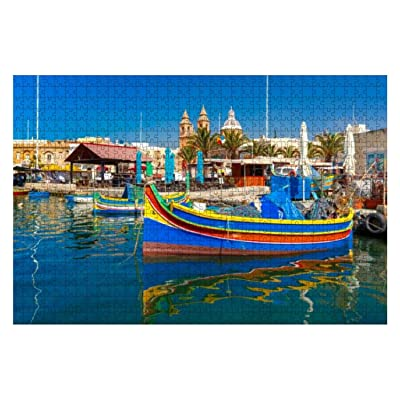 Taditional Eyed Boats Luzzu in Marsaxlokk, Malta 1000 Piece Wooden Jigsaw Puzzle DIY Children Educational Puzzles Adult Decompression Gift Creative Games Toys Puzzles Home Decor: Toys & Games
