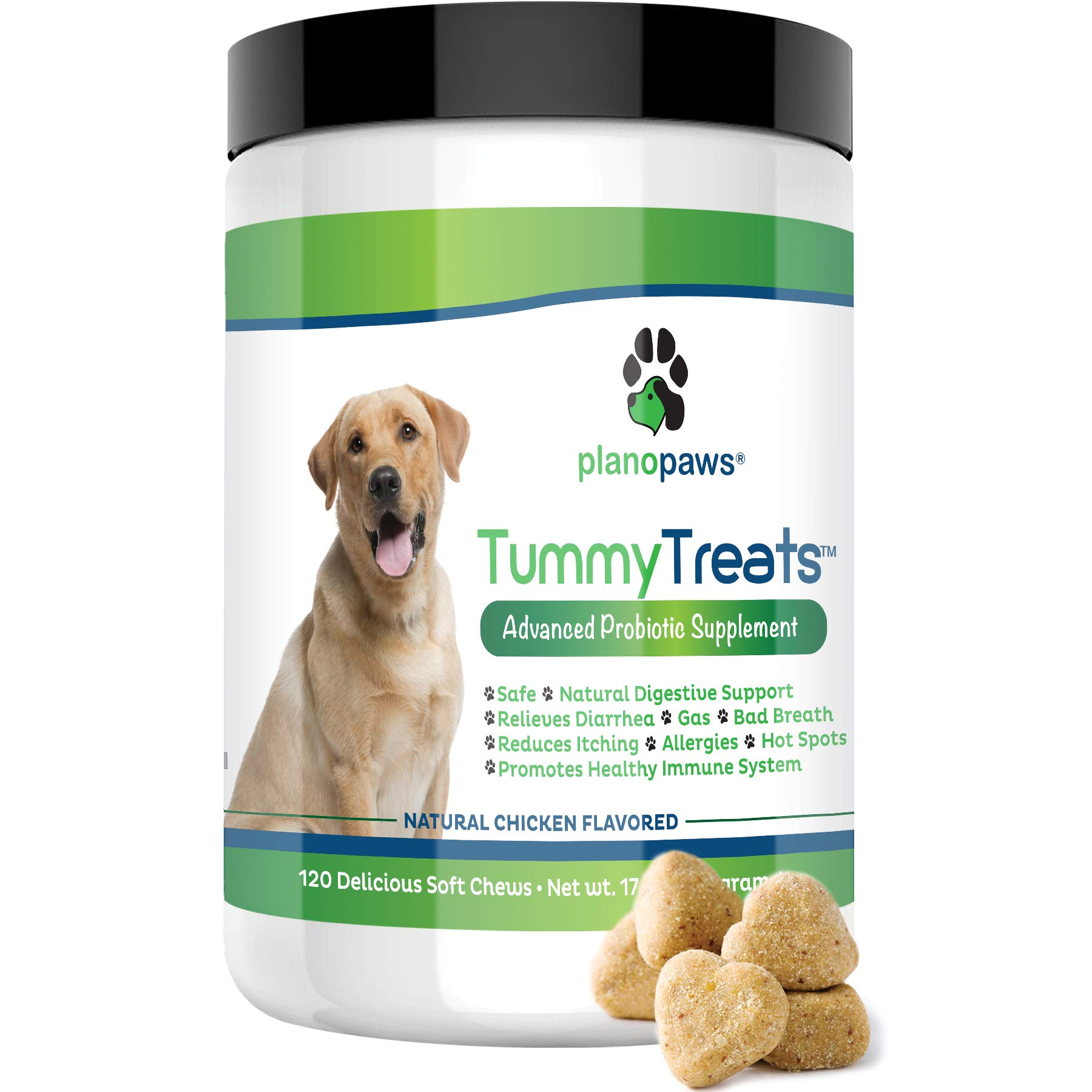 Tummy Treats - Probiotics for Dogs - Safe All Natural Dog Allergy Medicine - Dog Breath Treats - Helps Hot Spots - Yeast Infection - Constipation - Diarrhea - 120 Count - Probiotic & Digestive Enzymes by planopaws