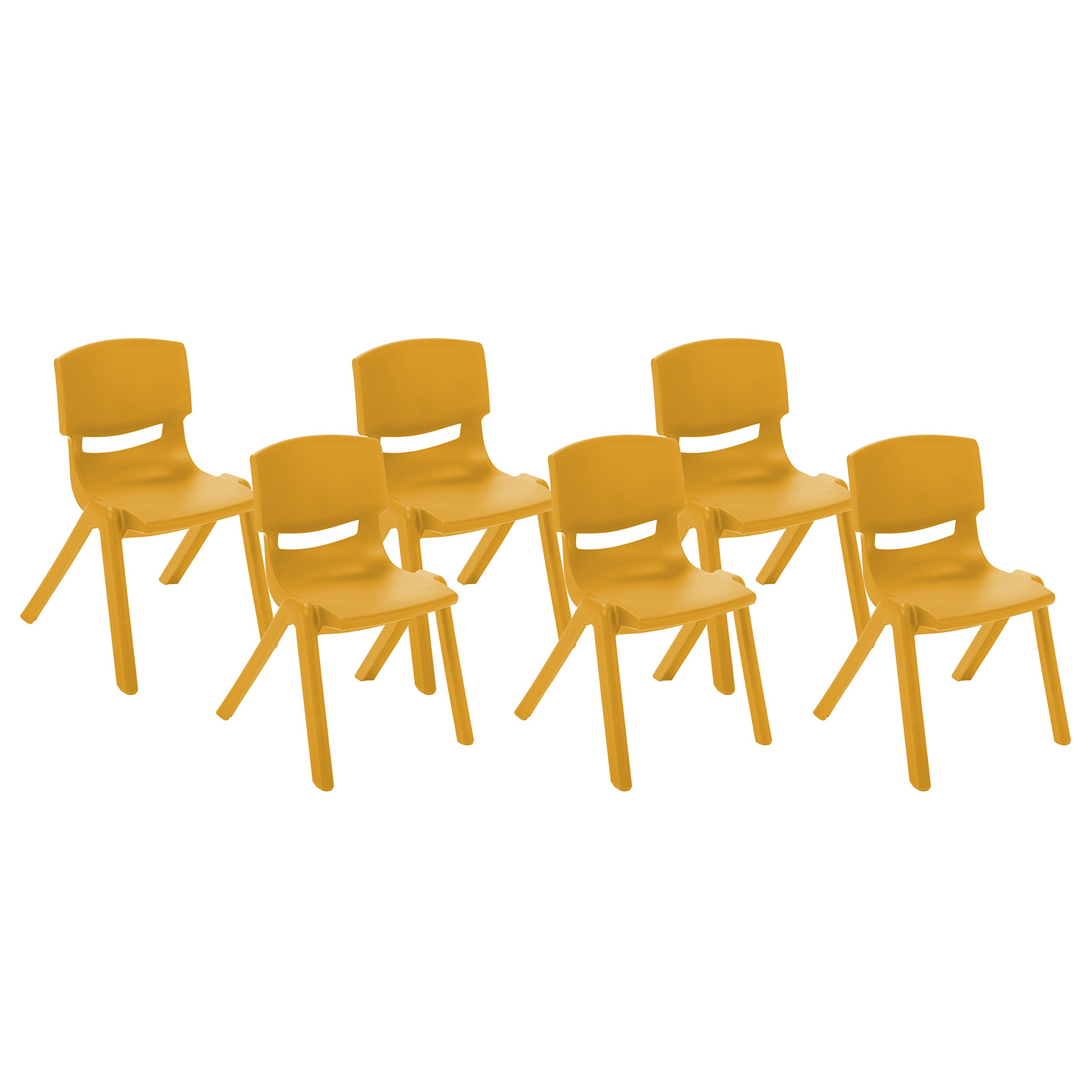 ECR4Kids 14'' School Stack Resin Chair, Orange (6-Pack)
