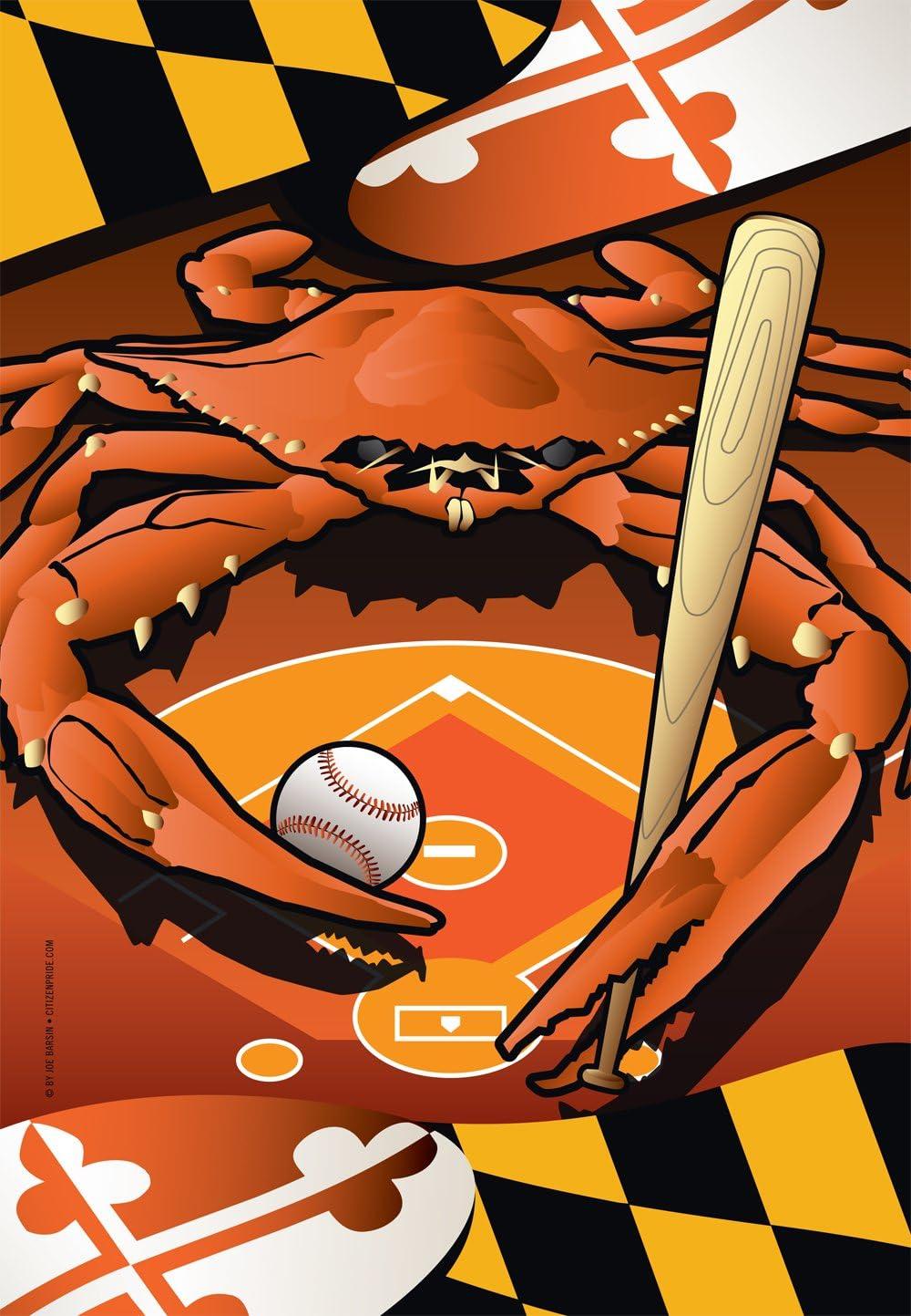 Citizen Pride Orioles Sports Crab of Baltimore Garden Flag by Joe Barsin 12 x 18-Inch Decorative USA-Produced