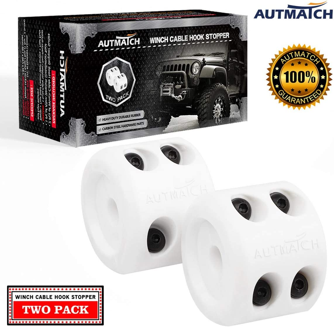 Silicone Rubber Shock Absorbent Winch Stopper Best Winch Accessories for Wire /& Synthetic Cables ATV UTV Prevent Pulling Eliminate Abrasion Bouncing Black Autmatch Winch Cable Hook Stopper 2 Pack