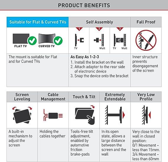 Barkan 3400L VESA y Non-VESA - Soporte de Pared para televisores de 32 a 70 Pulgadas (rotación de hasta 600 x 400 mm): Amazon.es: Electrónica