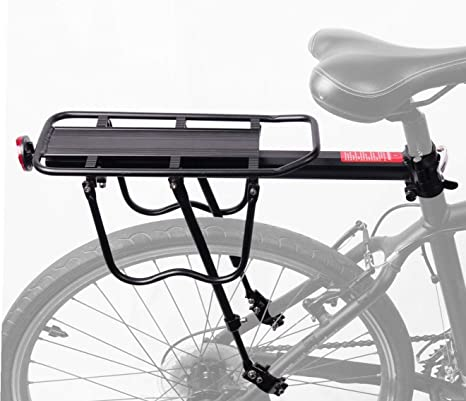 Solid Steel Universal Bike Rear Rack Bicycle Black Rear Cargo Protect Pannier Seat MTB Luggage Cargo Rack for Heavier Top /& Side Loads