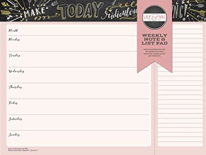 Summit Undated Lily & Val Weekly Note & List Pad, 52 Undated Sheets (96408)