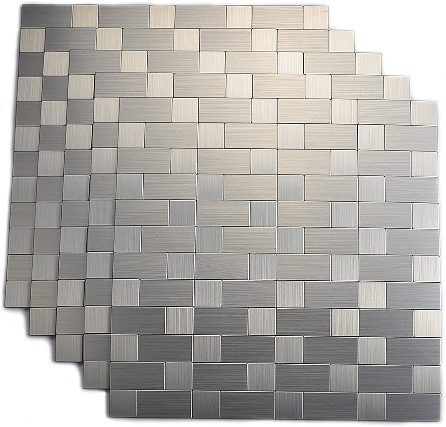 - Hometile Mosaic Metal Brushed Aluminum Backsplash Tile, Peel And