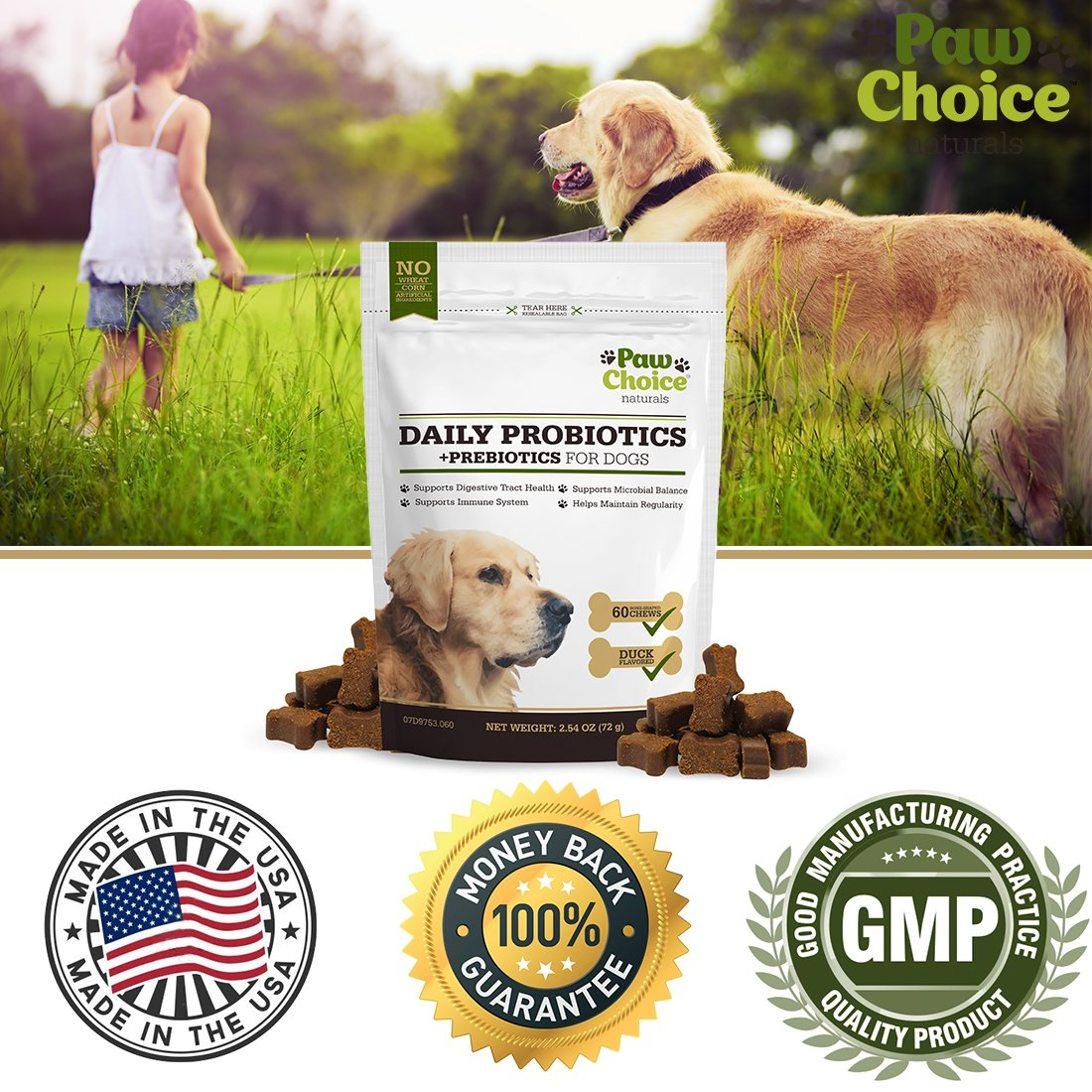 Probiotics for Dogs with Prebiotics - Daily Chews for Digestion, Regularity, Diarrhea Relief, Plus Supports Immune System and Health - Natural Supplement and Treat Made in USA by Paw Choice (Image #5)