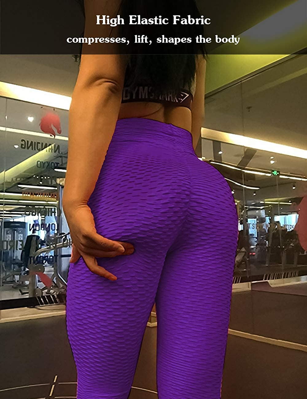 Msicyness Butt Lift Yoga Pants Hight Waist Workout Booty Leggings Textured Scrunch Bum Ruched Tights