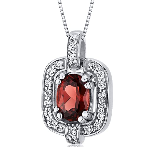 Garnet Pendant Necklace Sterling Silver Rhodium Nickel Finish Oval Cut CZ Accent
