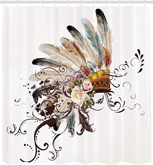 Feather Shower Curtain Native American Symbol Print for Bathroom