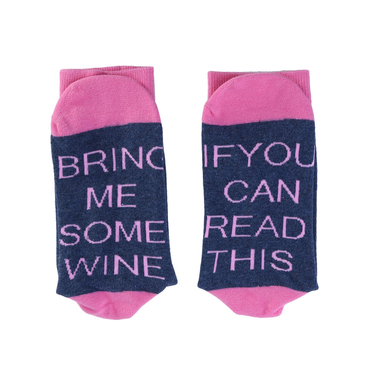 OUNONA Wine Socks Cotton ''Bring Me Some Wine'' Socks,Christmas Gift for Wine Lovers, Birthdays,Mothe,Wife,Funny Wine Party for Women(Blue and Pink)
