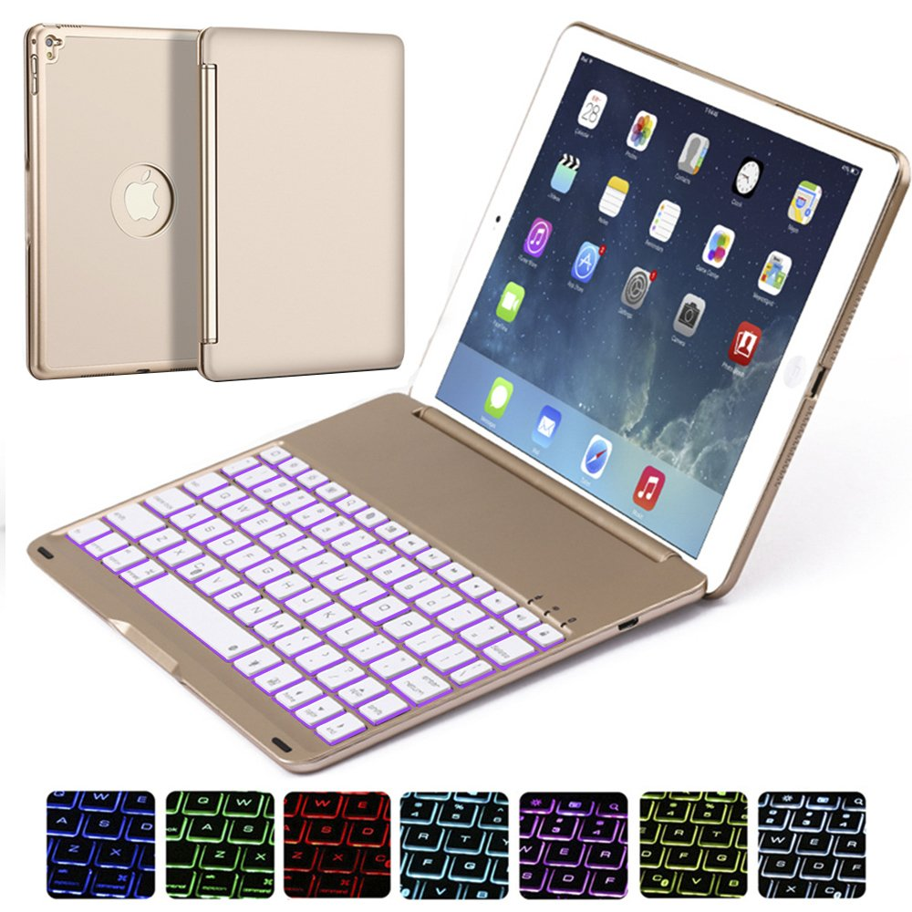 Ipad Pro 9.7 Keyboard Case, NOVT Aluminum Alloy Ultra Thin Smart Bluetooth Wireless Keyboard 7 Color Led Backlit with Protective Case Cover Stand Auto Sleep/Wake for Apple iPad Pro 9.7 Inch (Gold) by NOVT (Image #1)