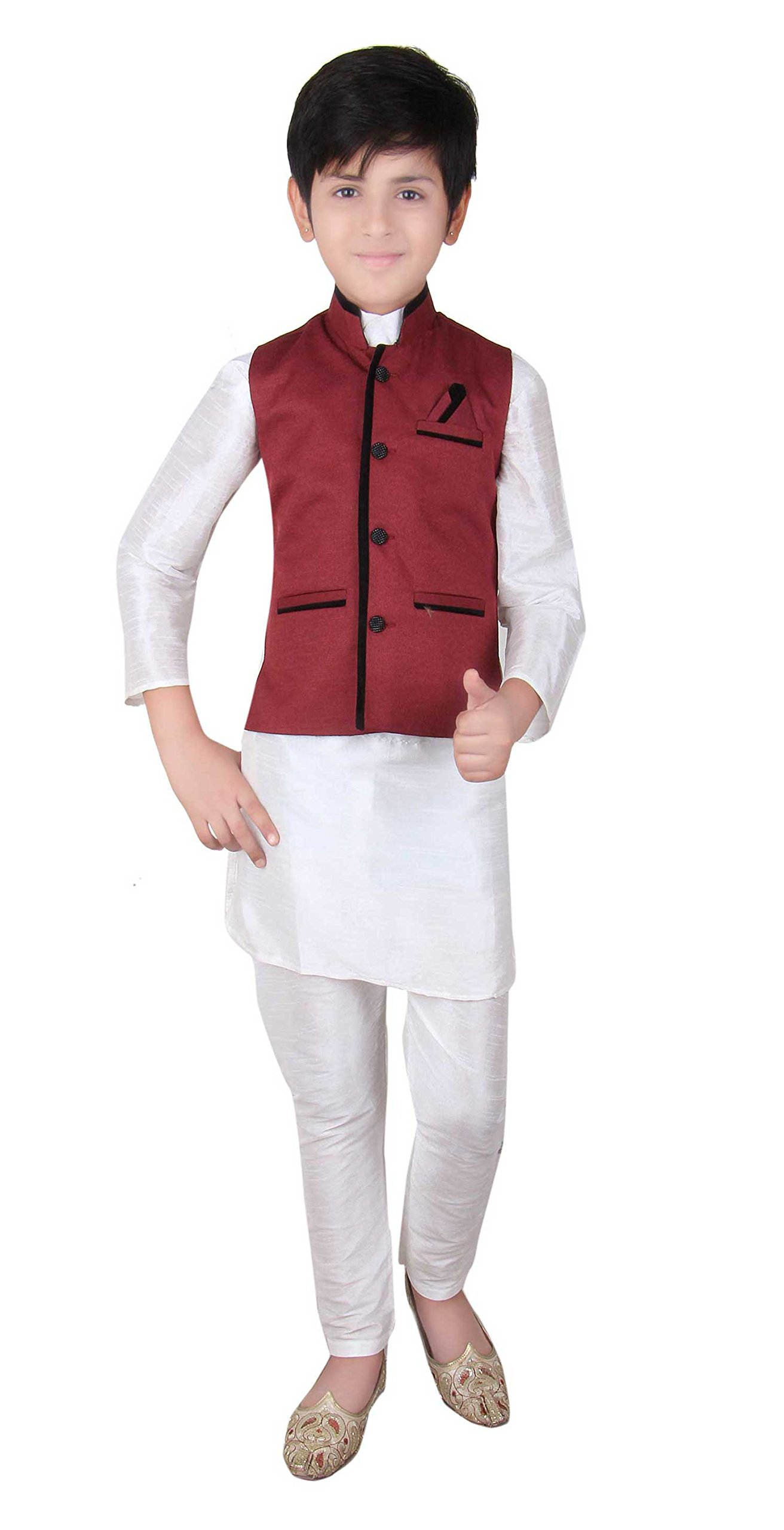 Boys Indian Modi Nehru Gandhi Style Waistcoat for Bollywood theme party outfit London 003 (10 (10 yrs ), Maroon)