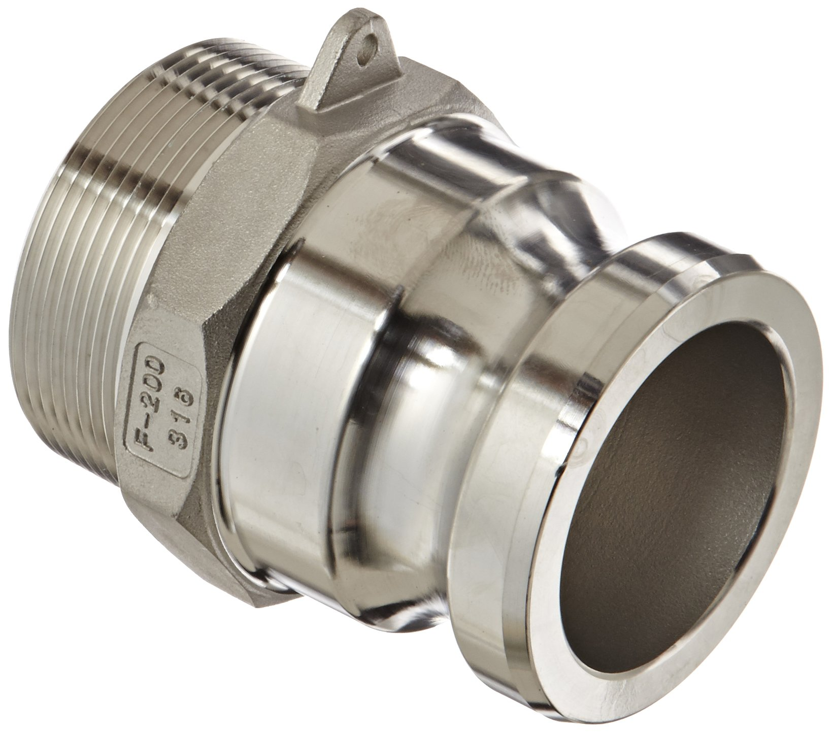 Dixon G200-F-SS Investment Cast Stainless Steel 316 Global Type F Cam and Groove Hose Fitting, 2'' Plug x 2'' NPT Male