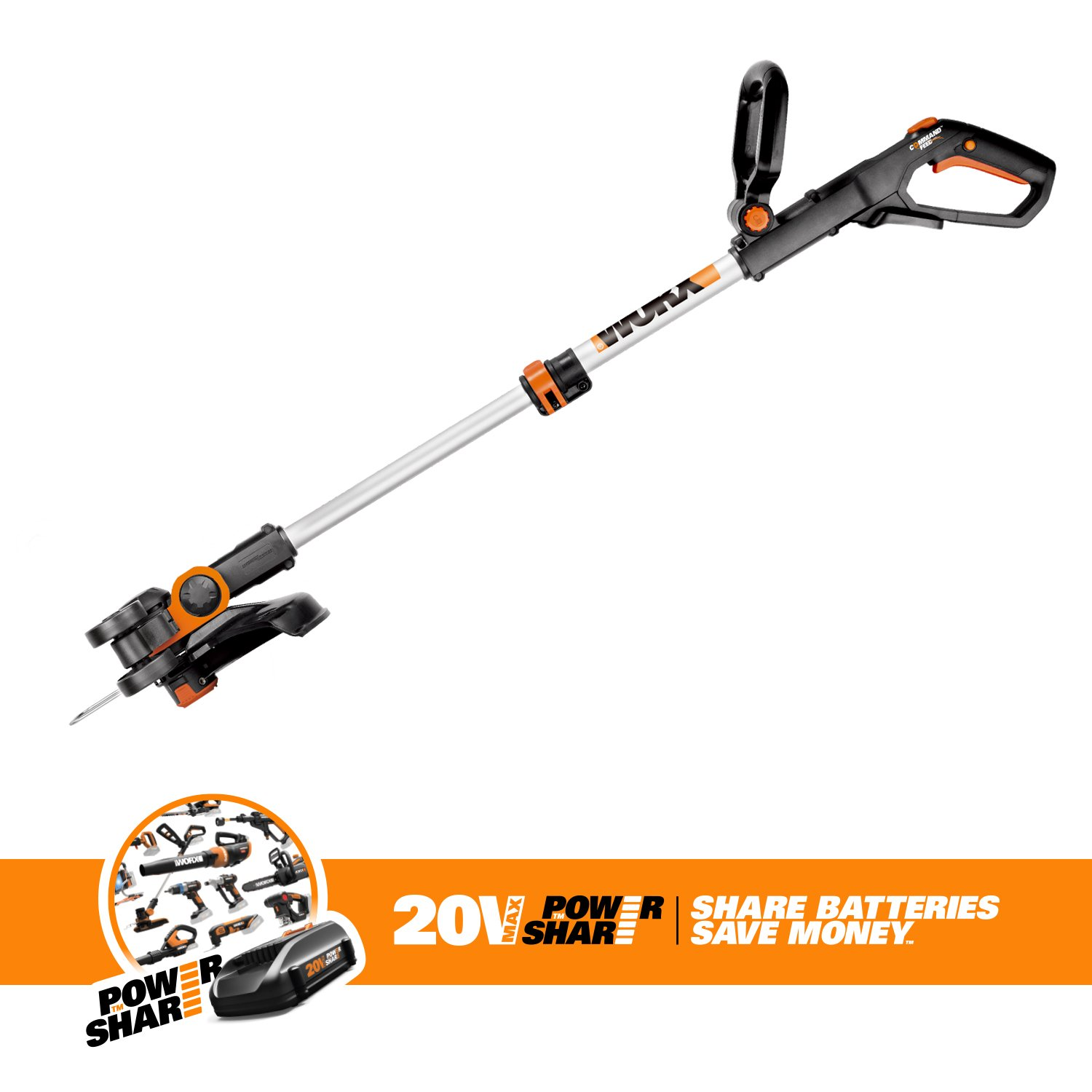 Worx Wg1639 20v Cordless Grass Trimmer Edger With Weed Eater Diagram And Parts List For Weedeater Grasslinetrimmer Command Feed 12 Tool Only Garden Outdoor