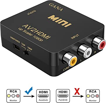 RCA a HDMI, GANA AV a HDMI Convertidor de Video Soporte 1080P con Cable de Alimentación USB para PC/Laptop/Xbox / PS4 / PS3 / TV/STB/VHS/VCR Cámara DVD-Oro: Amazon.es: Electrónica