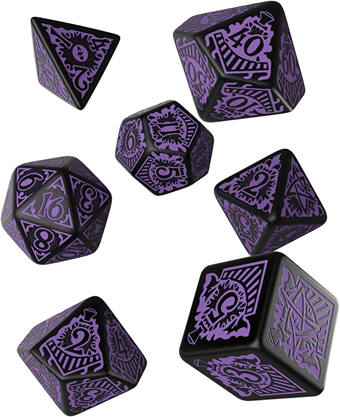 Q WORKSHOP Call Of Cthulhu Horror on the Orient Express RPG Ornamented Dice Set 7 Polyhedral Pieces
