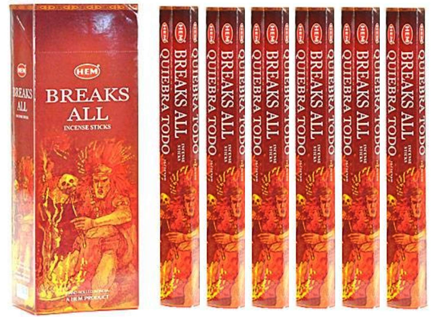 Breaks All - Box of Six 20 Stick Hex Tubes - HEM Incense Hand Rolled In India